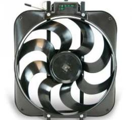 Full Size Chevy Electric Cooling Fan, S Blade, Black Magic, Flex-A-Lite, 1959-1972
