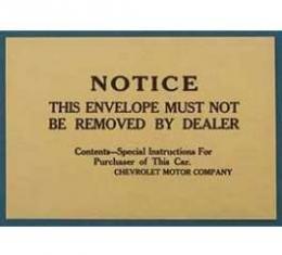 Full Size Chevy Dealer Information Envelope, 1958-1972