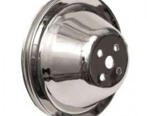 Full Size Chevy Water Pump Pulley, Single Groove, Small Block, Chrome, 1958-1968