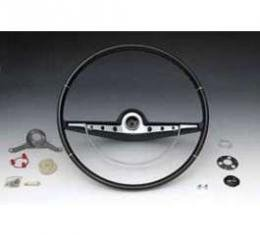 Full Size Chevy Complete Steering Wheel Assembly, Black, Impala Non-SS, 1963
