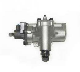 Full Size Chevy Steering Box, Power, With Inverted Flare Hose Fittings & Rag Joint, Delphi 600, 1965-1972