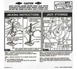 Full Size Chevy Jack Stowage & Jacking Instructions Sheet, Hardtop & Sedan, 1962