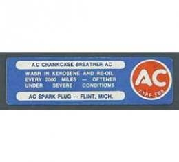 Full Size Chevy Crankcase Breather Maintenance Decal, 1964-1967