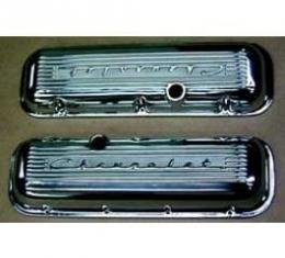 Full Size Chevy Valve Covers, Chevrolet Script, Polished Aluminum, Big Block, 1965-1972