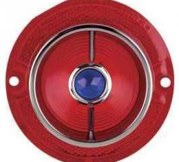 Full Size Chevy Taillight Lens, With Blue Dot and Chrome Ring, 1963