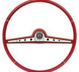 Full Size Chevy Steering Wheel, Two-Tone Red, Impala, 1962