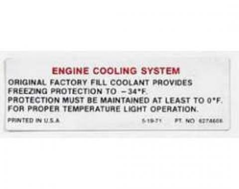 Full Size Chevy Engine Cooling System Warning Decal, 1971-1972