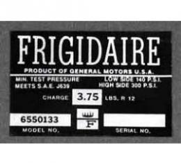 Full Size Chevy Air Conditioning Compressor Decal, Frigidaire, 1963-1965