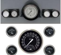 Full Size Chevy Custom Gauge Set, Black Face, With White Lettering, Traditional, Classic Instruments, 1959-1960