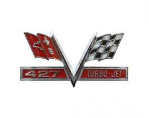 Full Size Chevy Metal Sign, 427 Turbo-Jet Cross Flags
