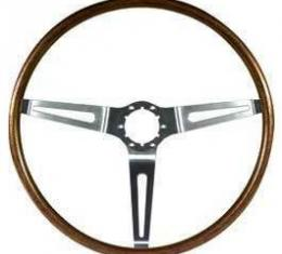 Full Size Chevy Steering Wheel, Simulated Walnut Wood, 1967-1968