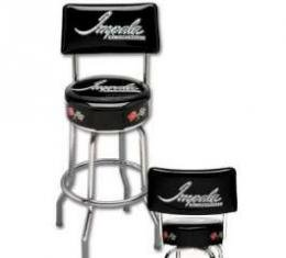 Full Size Chevy Bar Stool, With Backrest & Impala Script Logo