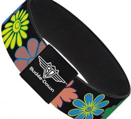 Buckle-Down Elastic Bracelet - Flowers Black/Multi Color