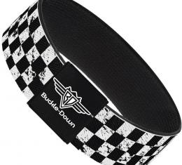 Buckle-Down Elastic Bracelet - Checker Weathered Black/White