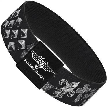 Buckle-Down Elastic Bracelet - Elegant Crosses/Stars/Studs Black/Grays