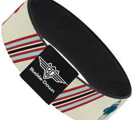 Buckle-Down Elastic Bracelet - Fire Hydrants/Stripes Tan/Blues/Reds