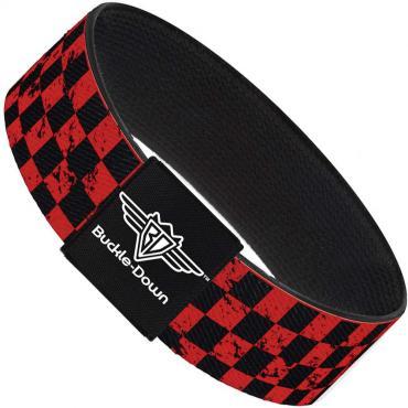 Buckle-Down Elastic Bracelet - Checker Weathered Black/Red