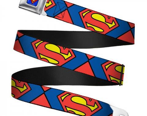 Superman Full Color Blue Seatbelt Belt - Superman Shield CLOSE-UP Blue/Red/Yellow Webbing
