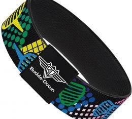 Buckle-Down Elastic Bracelet - Eighties Shades Black/Neon