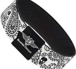 Buckle-Down Elastic Bracelet - Bandana/Skulls White/Black