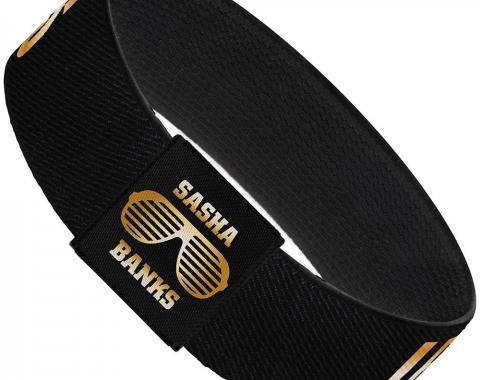 "Elastic Bracelet - 1.0"" - Sasha Banks LEGIT BOSS Black/Gold"