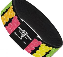 Buckle-Down Elastic Bracelet - Gummy Bears Cartoon Black/Red/Yellow/Green