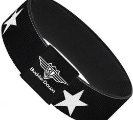 Buckle-Down Elastic Bracelet - Star Black/White