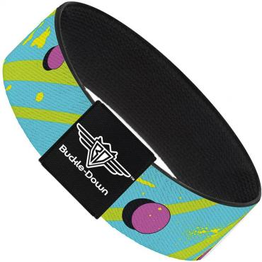 Buckle-Down Elastic Bracelet - Eighties Party Blue/Yellow/Pink
