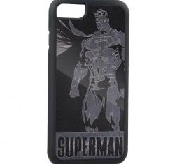 Rubber Cell Phone Case - BLACK - SUPERMAN World Hero Pose Brushed Silver