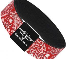 Buckle-Down Elastic Bracelet - Bandana/Skulls Red/White