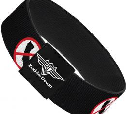 Buckle-Down Elastic Bracelet - Anti-California Logo Black/Red/White