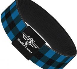 Buckle-Down Elastic Bracelet - Buffalo Plaid Black/Turquoise