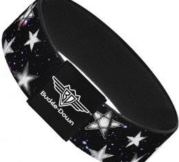 Buckle-Down Elastic Bracelet - Glowing Stars in Space Black/Purple/White