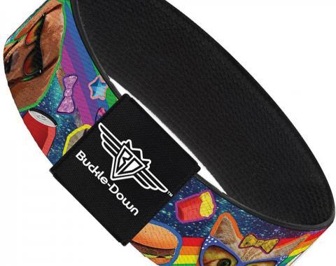 Buckle-Down Elastic Bracelet - Pets & Snacks Rainbow Collage
