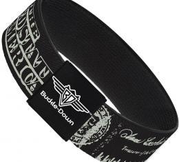 Buckle-Down Elastic Bracelet - Americana One Hundred Dollar Bill Elements Black/Gray