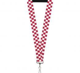 Buckle-Down Lanyard - Checker Crimson/White
