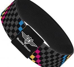Buckle-Down Elastic Bracelet - Checker Stripe Black/Gray/Blue/Gold/Pink