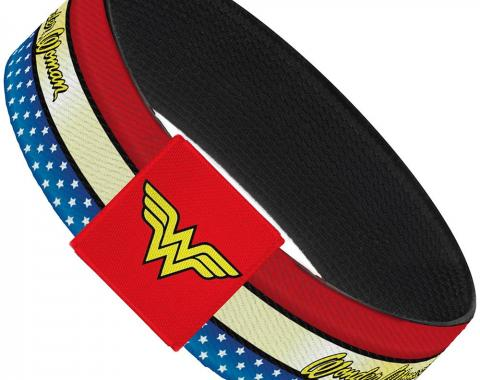 "Elastic Bracelet - 1.0"" - WONDER WOMAN Script Stripe/Stars Red/Gold/Blue/White"