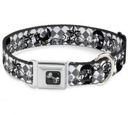 Buckle-Down Seatbelt Buckle Dog Collar - Diamonds White/Gray w/Skulls