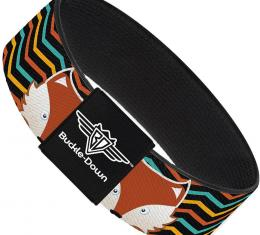 Buckle-Down Elastic Bracelet - Fox Face/Stripes Black/Multi Color