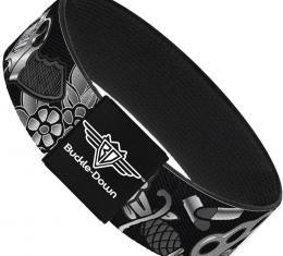 Buckle-Down Elastic Bracelet - Born to Raise Hell Black/White