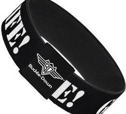 Buckle-Down Elastic Bracelet - GET A LIFE! Black/White