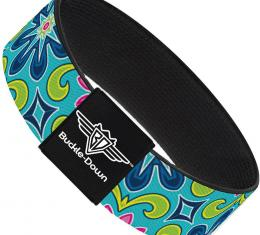 Buckle-Down Elastic Bracelet - Floral Burst Turquoise/Blues/Pinks/Yellow/Green