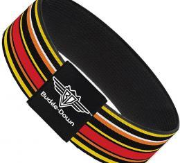 Buckle-Down Elastic Bracelet - Fine Stripes Black/Yellows/Orange/Red/White