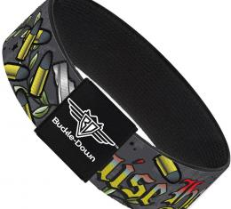Buckle-Down Elastic Bracelet - Born to Raise Hell Gray