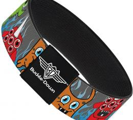 Buckle-Down Elastic Bracelet - Cute Monsters Gray/Flame Blue