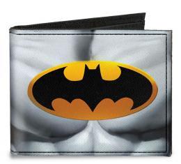 Canvas Bi-Fold Wallet - Justice Leaue Supreme Team Batman Chest Logo Grays/Yellow/Black