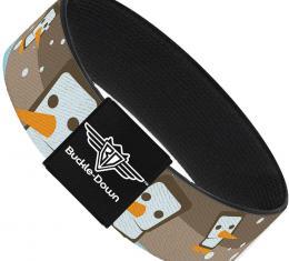 Buckle-Down Elastic Bracelet - Block Penguins Tan
