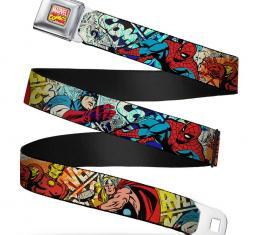 MARVEL COMICS  Marvel Comics Logo Full Color Seatbelt Belt - 4-Superhero Action Poses/Comic Scenes White/Black/Full Color Splatter Webbing