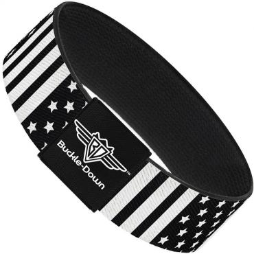 Buckle-Down Elastic Bracelet - American Flag C/U Black/White